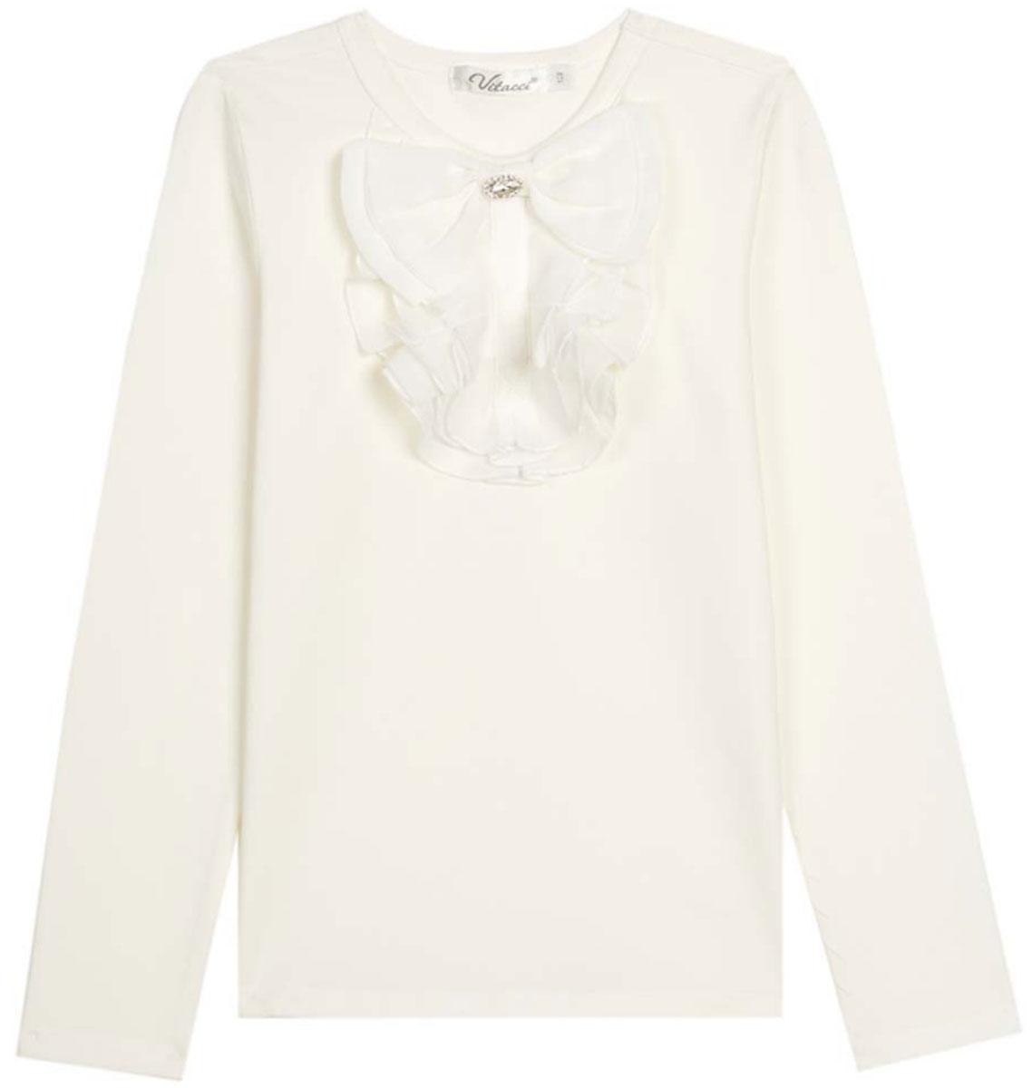 Блузка для девочки Vitacci, цвет: слоновая кость. 2173082-25. Размер 1342173082-25Школьная блузка для девочки от Vitacci выполнена из эластичного хлопкового трикотажа. Модель с длинными рукавами и круглым вырезом горловины на полочке оформлена жабо.