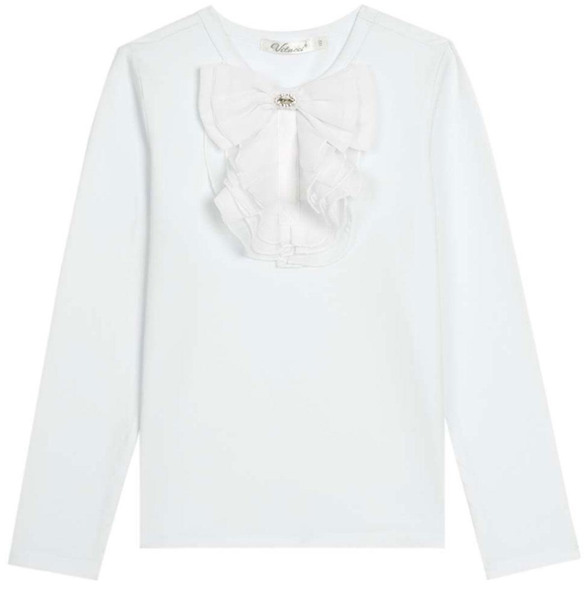 Блузка для девочки Vitacci, цвет: белый. 2173082-01. Размер 1282173082-01Школьная блузка для девочки от Vitacci выполнена из эластичного хлопкового трикотажа. Модель с длинными рукавами и круглым вырезом горловины на полочке оформлена жабо.