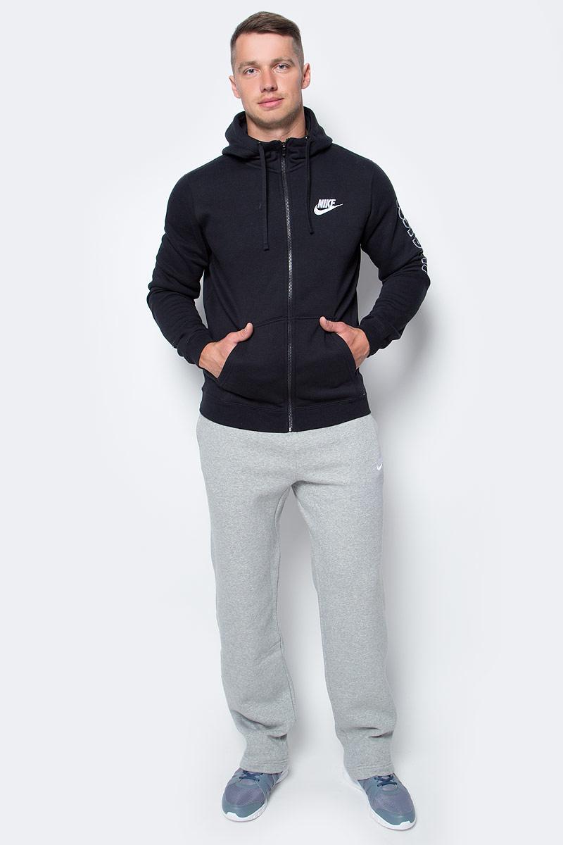 Толстовка мужская Nike NsHoodie Flc Gx Swsh+, цвет: черный. 804664-010. Размер S (44/46)804664-010Мужская толстовка NsHoodie Flc Gx Swsh+ от Nike выполнена из хлопка с добавлением полиэстера. Модель с капюшоном и длинными рукавами застегивается на застежку-молнию. Спереди расположены два накладных кармана.