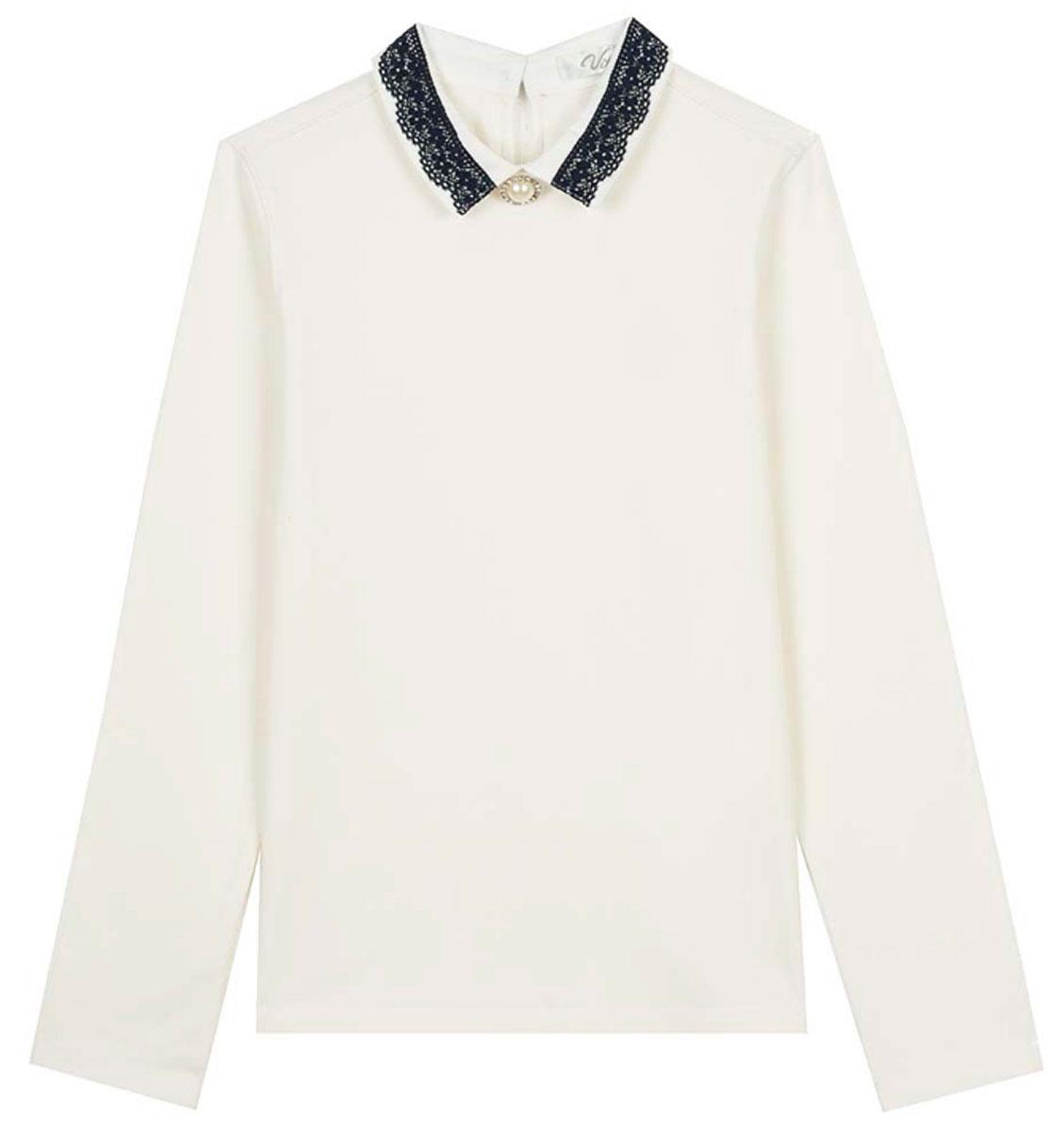 Блузка для девочек Vitacci, цвет: слоновая кость. 2173204L-25. Размер 1402173204L-25Классическая школьная блузка для девочки