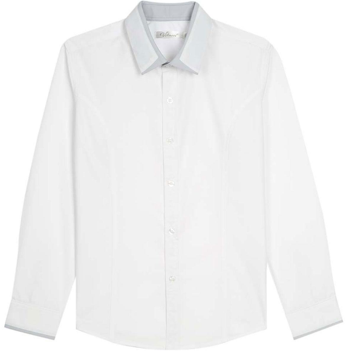 Рубашка для мальчиков Vitacci, цвет: серый. 1173019М-02. Размер 1641173019-02/1173019М-02Классическая школьная блузка для девочки