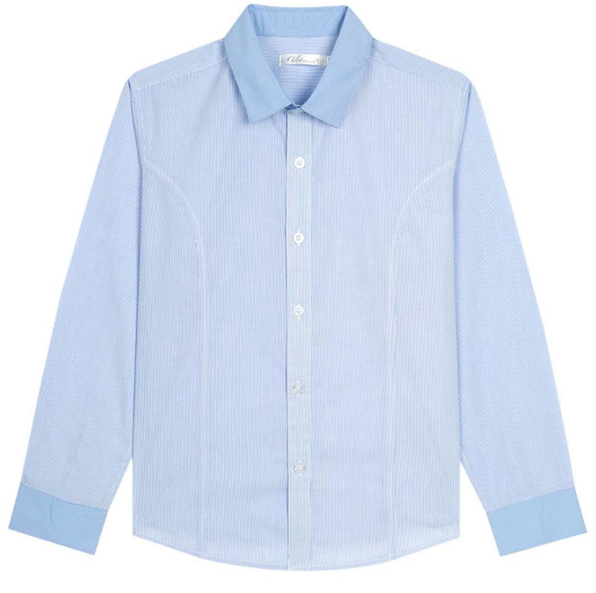 Рубашка для мальчика Vitacci, цвет: голубой. 1173020М-10. Размер 1701173020-10/1173020М-10Рубашка для мальчика выполнена из хлопка и полиэстера. Модель с длинными рукавами застегивается на пуговицы.
