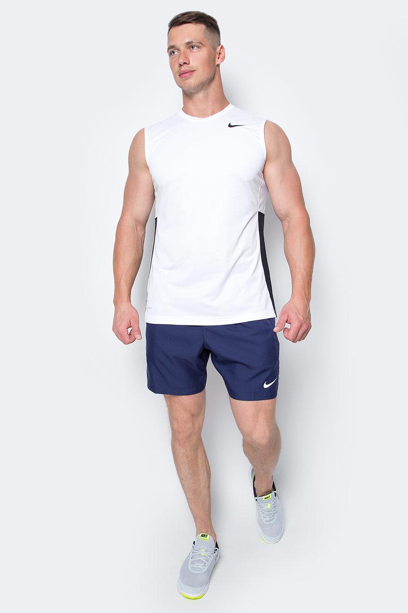 Майка для баскетбола мужская Nike Crossover, цвет: белый. 641419-100. Размер XL (52/54)641419-100Майка Nike Crossover выполнена из влагоотводящей ткани Nike Dri-FIT, гарантирующей вентиляцию и комфорт. Сетчатые вставки из материала Dri-FIT усиливают вентиляцию, облегающий крой, круглый вырез.