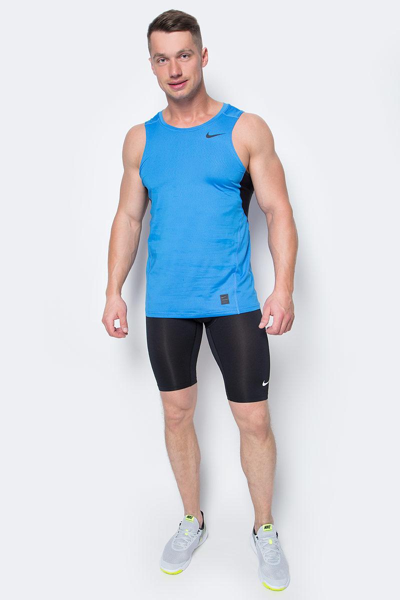 Майка для бега мужская Nike Hypercool Fttd Tnk, цвет: синий. 801248-436. Размер L (50/52)801248-436Майка для бега Nike Hypercool Fttd Tnk выполнена из текстиля Dri-FIT, выводящего лишнюю влагу с поверхности кожи. Облегающий анатомический крой обеспечивает поддержку мышц. Круглый вырез горловины, плоские швы и сетчатые вставки обеспечивают комфорт.