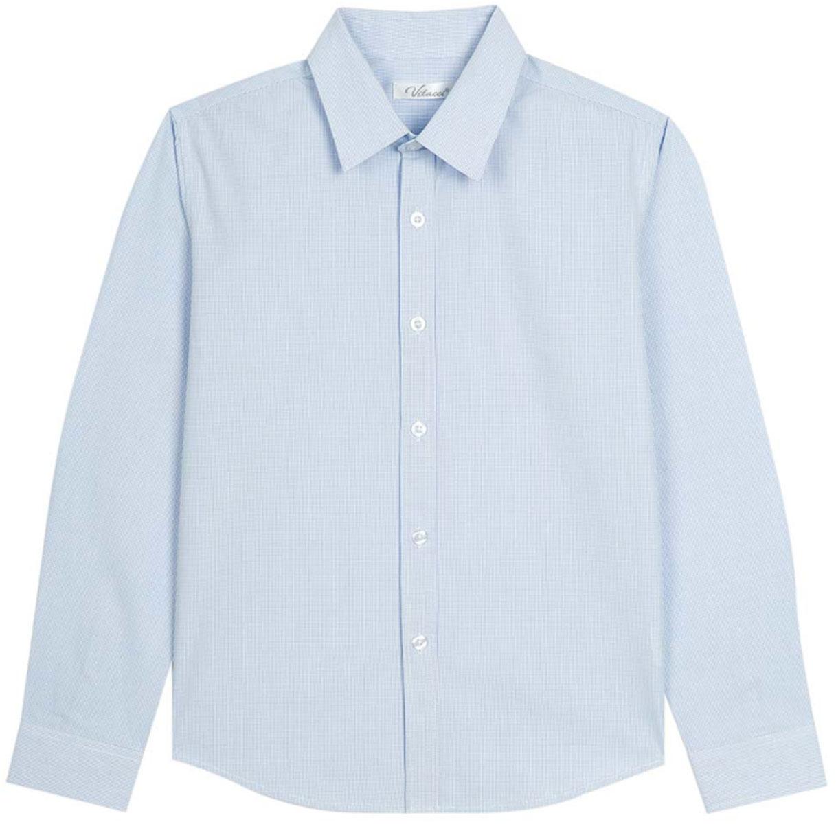 Рубашка для мальчика Vitacci, цвет: голубой. 1173018М-10. Размер 1521173018М-10Рубашка для мальчика выполнена из хлопка и полиэстера. Модель с отложным воротником и длинными рукавами застегивается на пуговицы.