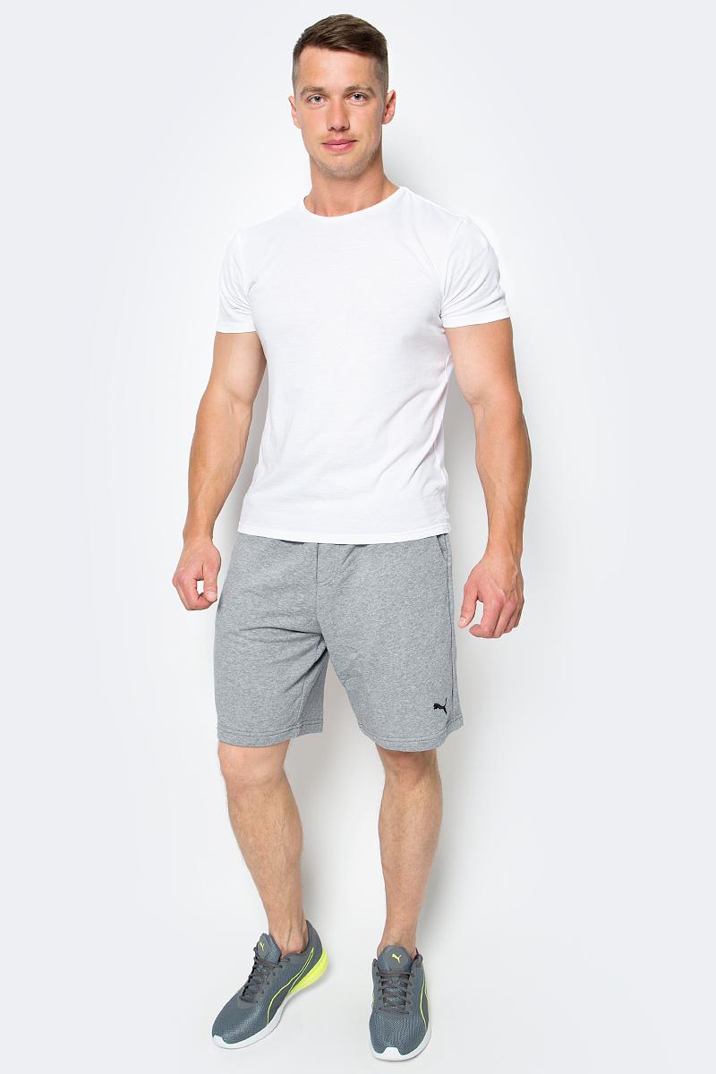 Шорты мужские Puma Ess Sweat Shorts 9, цвет: серый. 838260_03. Размер M (48/50)838260_03Шорты ESS Sweat Shorts 9, выполненные из хлопка и полиэстера, прекрасно подойдут для ежедневного использования, а также для тренировок. Шорты декорированы вышитым логотипом PUMA. Среди других отличительных особенностей изделия - пояс из его основного материала с продернутым затягивающимся шнуром, карманы в швах, а также нашитая сверху задняя кокетка для лучшей посадки по фигуре.