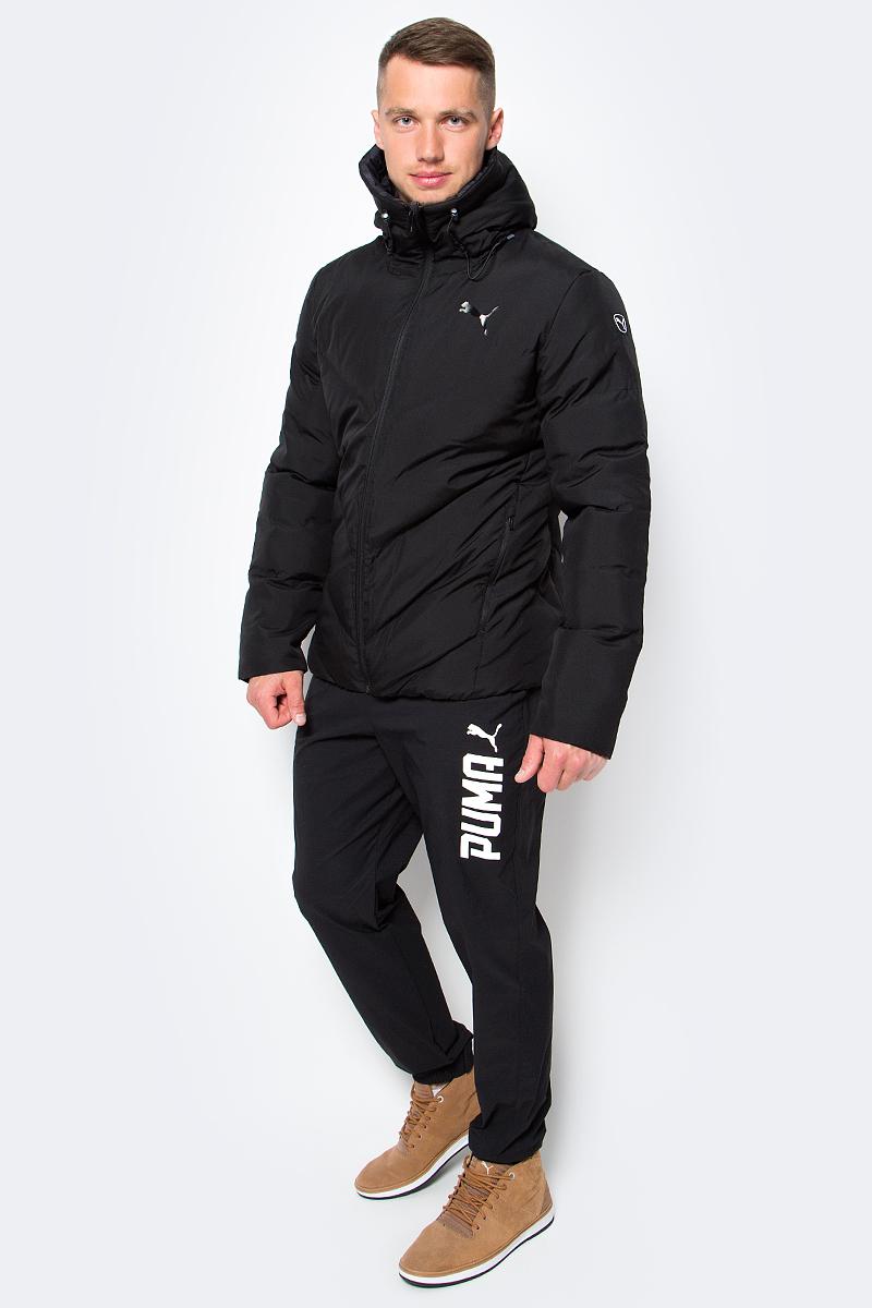 Куртка мужская Puma Style Reverse Hd Padded Jacket, цвет: черный. 83865645. Размер M (46/48)838656_45Двусторонняя куртка Puma Style Reverse Hd Padded Jacket защитит вас от непогоды. Верхняя куртка декорирована логотипом Puma, нанесенным методом глянцевой печати, а также силиконовой эмблемой Puma. Среди других отличительных особенностей модели - капюшон изменяемой формы с затягивающимися шнурами, снабженными стопорами, наращенный спереди ворот, защищающий шею и подбородок от ветра, боковые карманы на молнии с односторонней подкладкой из флиса. Нижняя куртка украшена графическим набивным рисунком, нанесенным методом сублимационной печати. Модель декорирована логотипом Puma, нанесенным методом глянцевой печати, капюшон изменяемой формы с затягивающимися шнурами, снабженными стопорами, наращённый спереди ворот, защищающий шею и подбородок от ветра, карманы с обтачками.