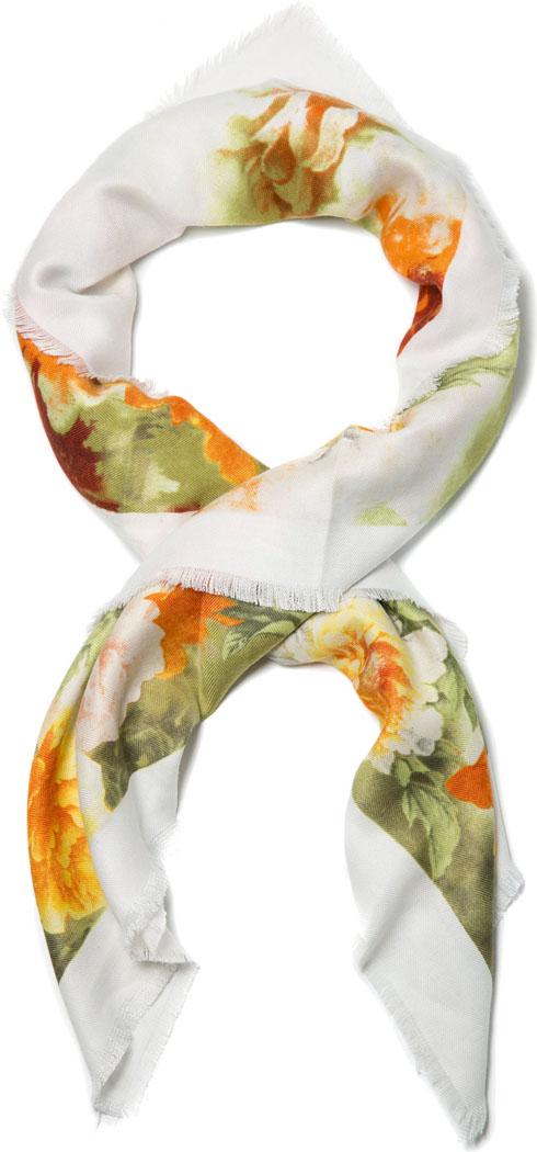 Платок женский Mitya Veselkov, цвет: белый, оранжевый. PLATOK2-ORANGEFLOWER. Размер универсальныйPLATOK2-ORANGEFLOWERЖенский платок — аксессуар, с помощью которого легко создать элегантный запоминающийся образ! Особенности модели: нежная на ощупь текстура; тонкость и удивительная лёгкость; изящный дизайн. 30% шерсть, 70% кашемир.