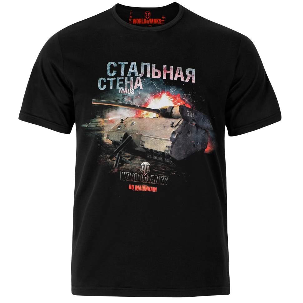 Футболка мужская World of Tanks Стальная стена, цвет: черный. WoT-003. Размер M (48)WoT-003Удобная мужская футболка World of Tanks с коротким рукавом и круглой горловиной выполнена из хлопка. Модель оформлена качественными принтами из популярной игры World of Tanks.