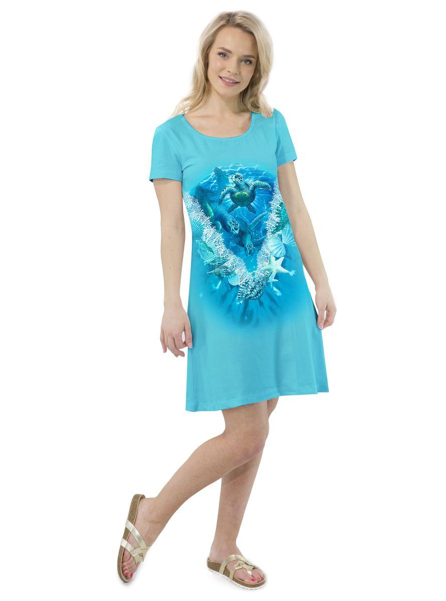 Платье MF Черепашки ракушки, цвет: бирюзовый. ПЛ-41(23). Размер M (46)ПЛ-41(23)Платье выполнено из хлопка с добавлением эластана. Модель с круглым вырезом горловины и короткими рукавами.