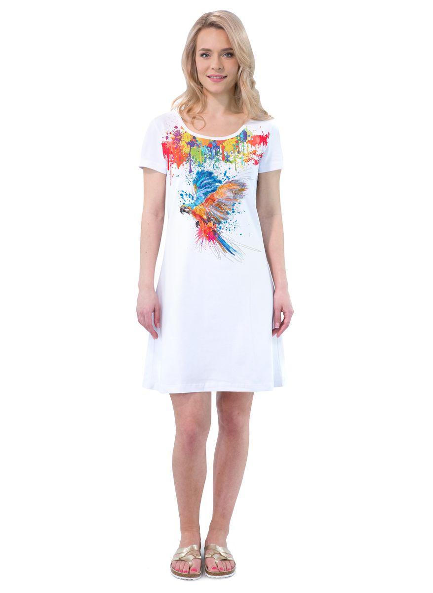 Платье MF Попугай, цвет: белый. ПЛ-41(25). Размер XL (50)ПЛ-41(25)Платье выполнено из хлопка с добавлением эластана. Модель с круглым вырезом горловины и короткими рукавами.