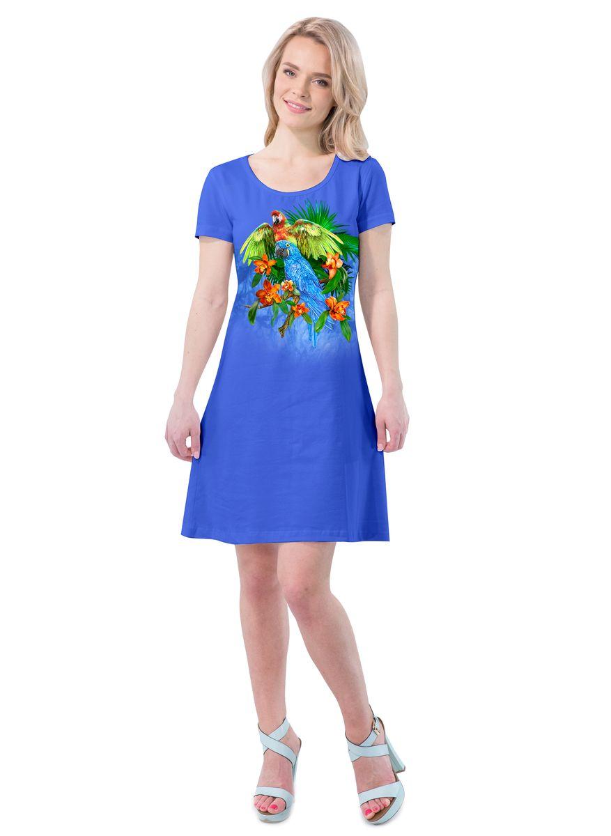 Платье MF Попугаи цветы, цвет: синий. ПЛ-41(26). Размер XS (42)ПЛ-41(26)Платье выполнено из хлопка с добавлением эластана. Модель с круглым вырезом горловины и короткими рукавами.