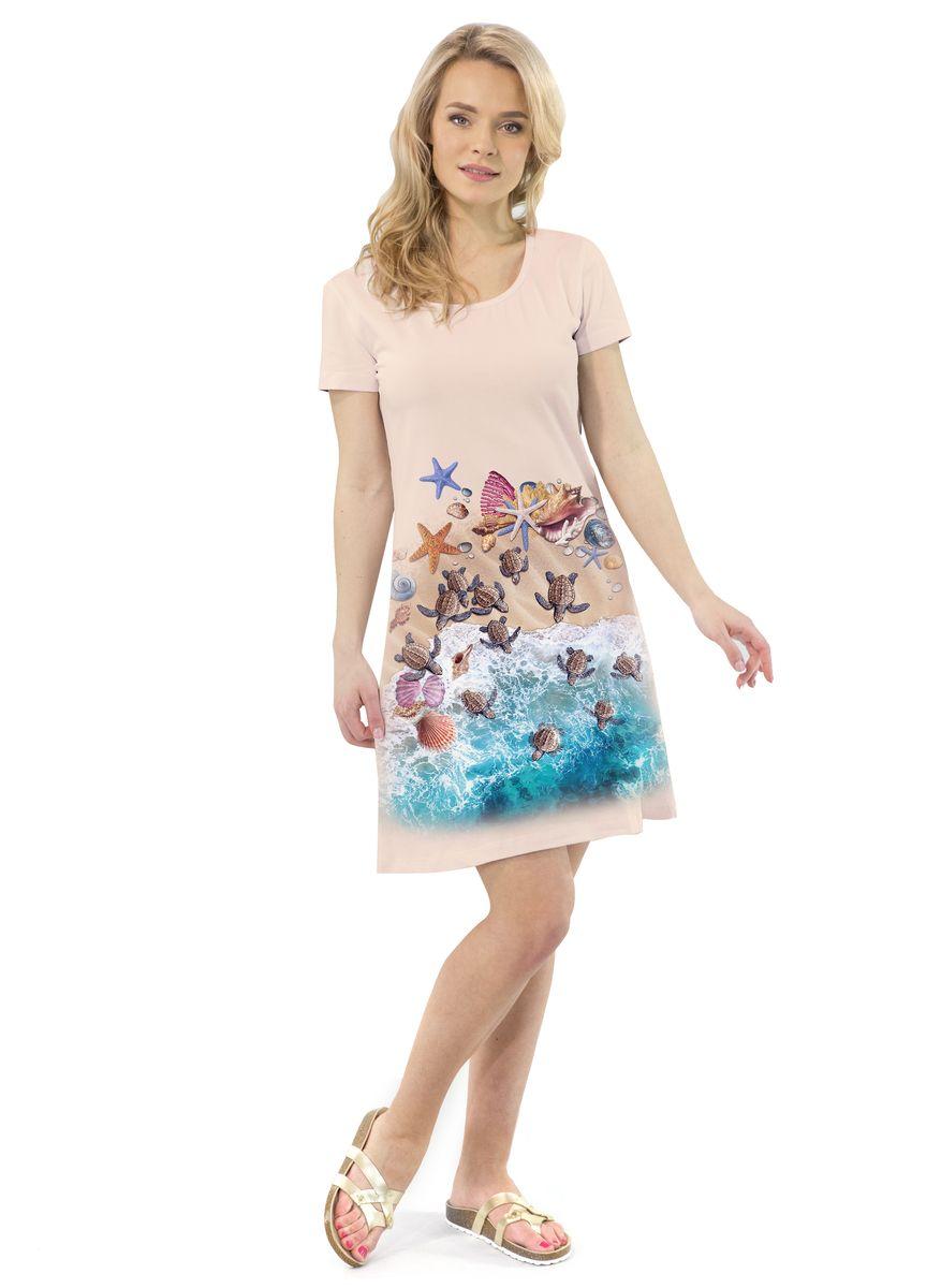 Платье MF Черепашки на песке, цвет: бежевый. ПЛ-41(27). Размер XS (42)ПЛ-41(27)Платье выполнено из хлопка с добавлением эластана. Модель с круглым вырезом горловины и короткими рукавами.