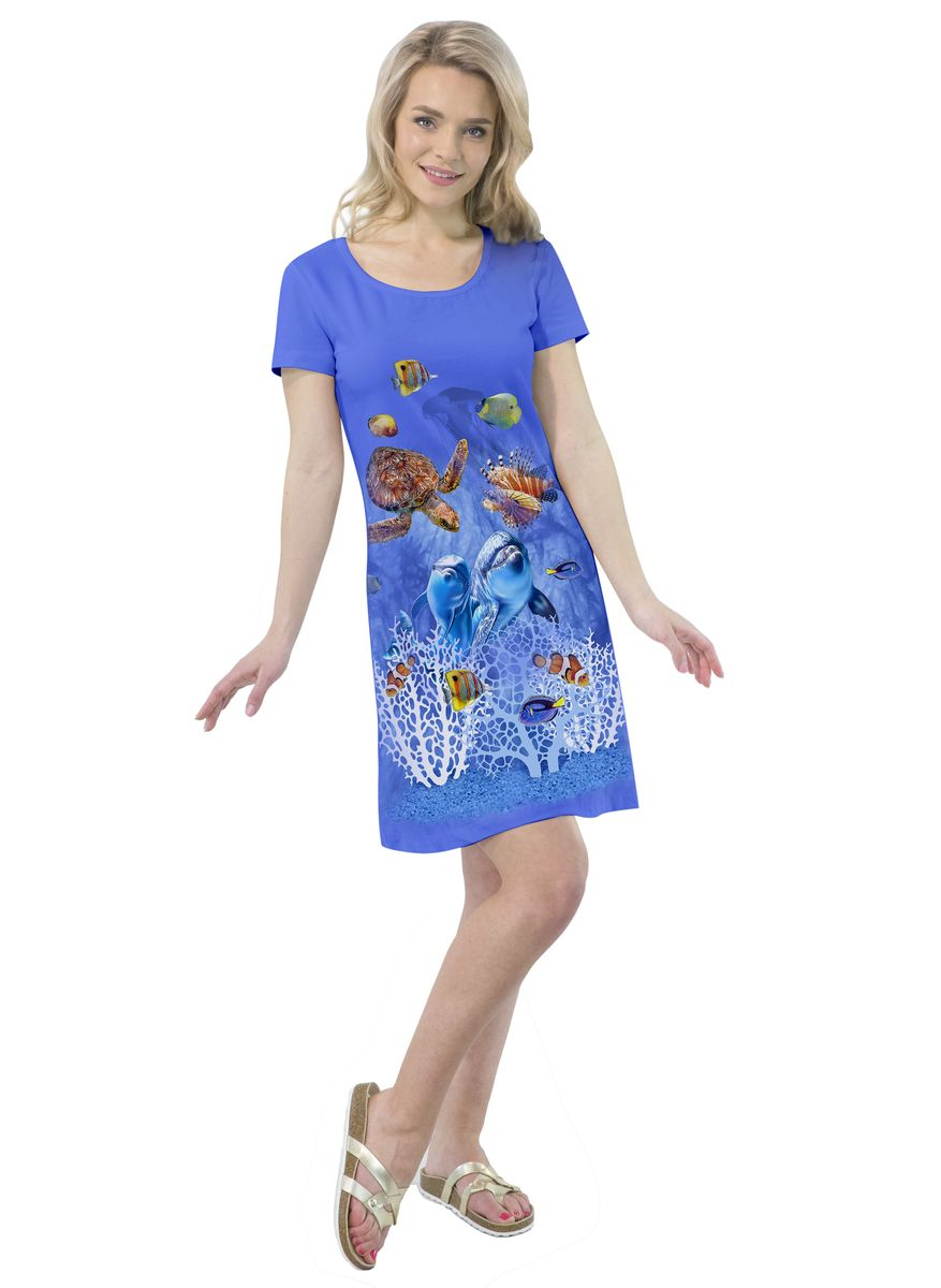 Платье MF Дельфины Коралловый Риф, цвет: синий. ПЛ-41(29). Размер S (44)ПЛ-41(29)Платье выполнено из хлопка с добавлением эластана. Модель с круглым вырезом горловины и короткими рукавами.