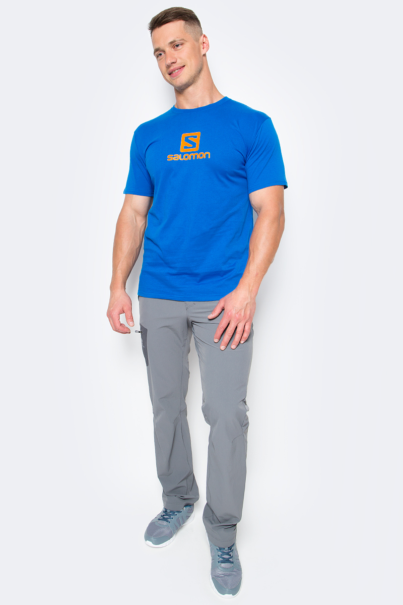 Футболка мужская Salomon Cotton Logo SS Tee, цвет: синий. L39376400. Размер S (44/46)