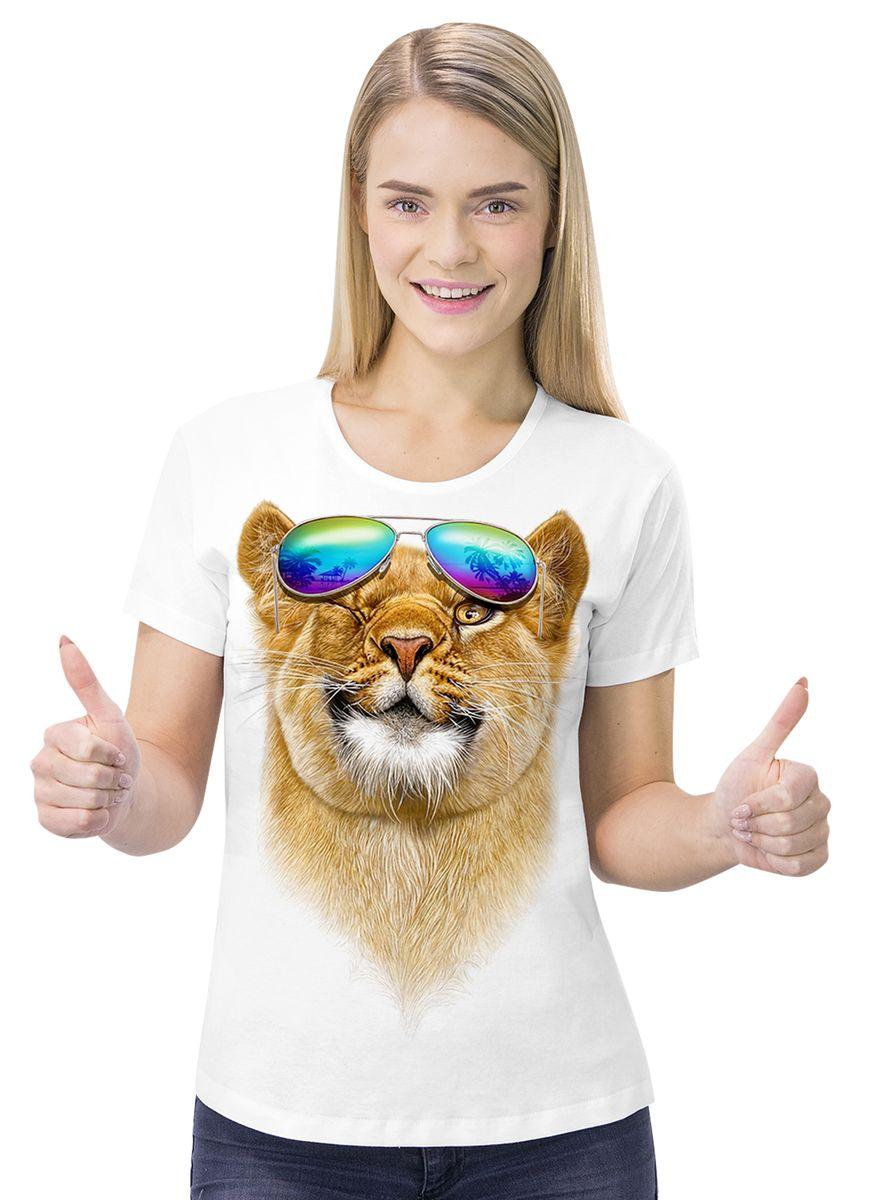 Футболка женская MF Львица очки, цвет: белый. 1-115. Размер XXL (52)1-115Футболка выполнена из 100% хлопка. Модель с круглым вырезом горловины и короткими рукавами оформлена оригинальным принтом.