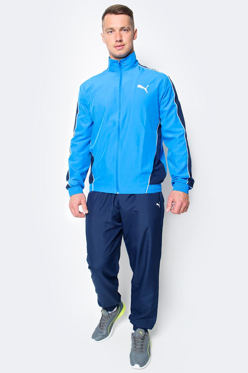 Костюм спортивный мужской Puma Flash Woven Suit op, цвет: голубой, синий. 590888_17. Размер S (44/46)590888_17Костюм спортивный мужской Flash Woven Suit op отлично подойдет для тренировок, он обеспечит свободу движений и комфорт во время занятий. Костюм выполнен из 100% полиэстера. Куртка застегивается на молнию, имеет воротник-стойку, длинные рукава и боковые карманы. Пояс и манжеты отделаны эластичным трикотажем в резинку. Пояс брюк из эластичного материала снабжен затягивающимся шнуром, манжеты понизу штанин выполнены из эластичного трикотажа. Куртка декорирована логотипом PUMA и контрастной отделкой швов на рукавах и боках. Брюки также декорированы логотипом PUMA.