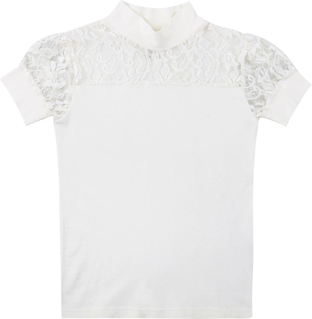 Блузка для девочки Free Age, цвет: молочный. ZG 28081-V2. Размер 128, 7 летZG 28081-V2Блузка для девочки Free Age с коротким рукавом выглядит повседневно и нарядно. Она изготовлена из хлопка с добавлением эластана. Нарядная блузка, комбинированная с кружевным трикотажем. Рукава-фонарики и кокетка спереди выполнены из полупрозрачного ажурного кремового кружева.