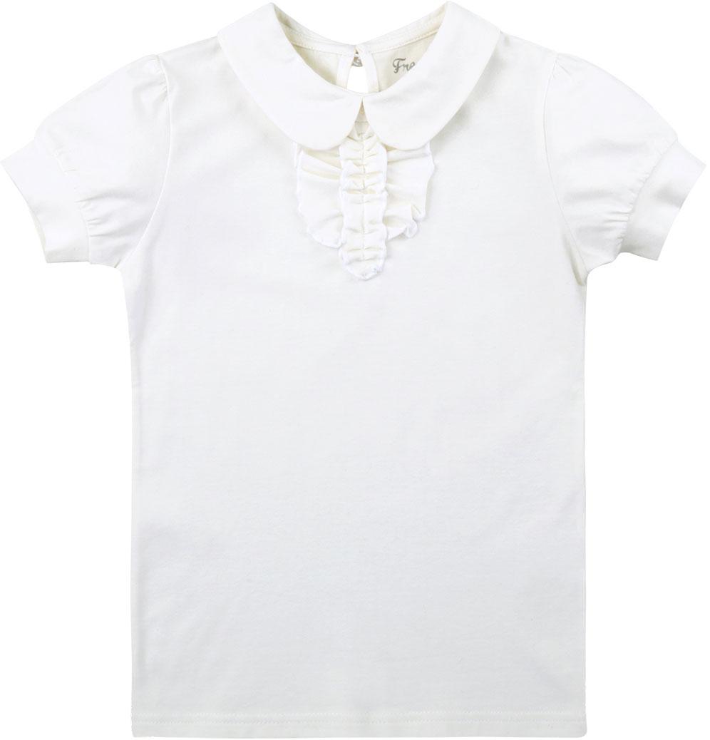 Блузка для девочки Free Age, цвет: молочный. ZG 28082-V2. Размер 122, 6 летZG 28082-V2Блузка для девочки Free Age выполнена из эластичного хлопка. Блузка с отложным воротником и короткими рукавами на спинке застегивается на пуговку. Спереди модель оформлена рюшами. Такая блузка станет прекрасным дополнением школьного гардероба вашей девочки.