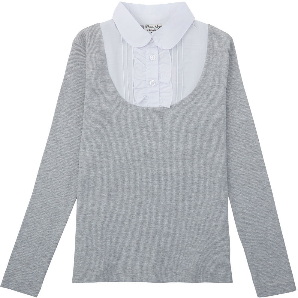 Блузка для девочки Free Age, цвет: белый, серый меланж. ZG 28087-MW2. Размер 134, 8 летZG 28087-MW2Блузка для девочки Free Age с длинным рукавом выглядят повседневно и нарядно. Изготовлена из двух полотен: трикотаж и поплин. Спереди кокетка блузки украшена застроченными складками и декоративными рюшами. Застегивается спереди на планку с пуговицами. Дизайн блузки основательно выверен. Все составляющие аккуратно скомбинированы и отлично подходят друг к другу. Блузки Free Age великолепно подойдет под любой стиль одежды и выставит вас в правильном свете и в офисе и на улице.