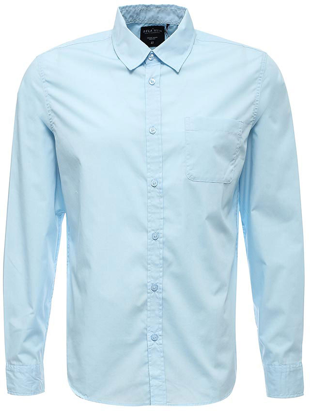 Рубашка мужская Sela, цвет: голубой. H-412/041-7310. Размер 40 (46)H-412/041-7310Классическая мужская рубашка Sela поможет создать модный образ и станет отличным дополнением к повседневному гардеробу. Модель прямого кроя с отложным воротничком застегивается на пуговицы и дополнена накладным карманом. Манжеты длинных рукавов также дополнены пуговицей. Рубашка подойдет для офиса, прогулок или дружеских встреч и будет отлично сочетаться с джинсами и брюками. Мягкая ткань на основе хлопка и полиэстера приятна на ощупь и комфортна в носке.