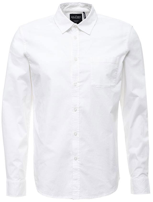 Рубашка мужская Sela, цвет: белый. H-412/043-7310. Размер 39 (44)H-412/043-7310Классическая мужская рубашка Sela поможет создать модный образ и станет отличным дополнением к повседневному гардеробу. Модель прямого кроя с отложным воротничком застегивается на пуговицы и дополнена накладным карманом. Манжеты длинных рукавов также дополнены пуговицей. Рубашка подойдет для офиса, прогулок или дружеских встреч и будет отлично сочетаться с джинсами и брюками. Мягкая ткань на основе хлопка и эластана приятна на ощупь и комфортна в носке.
