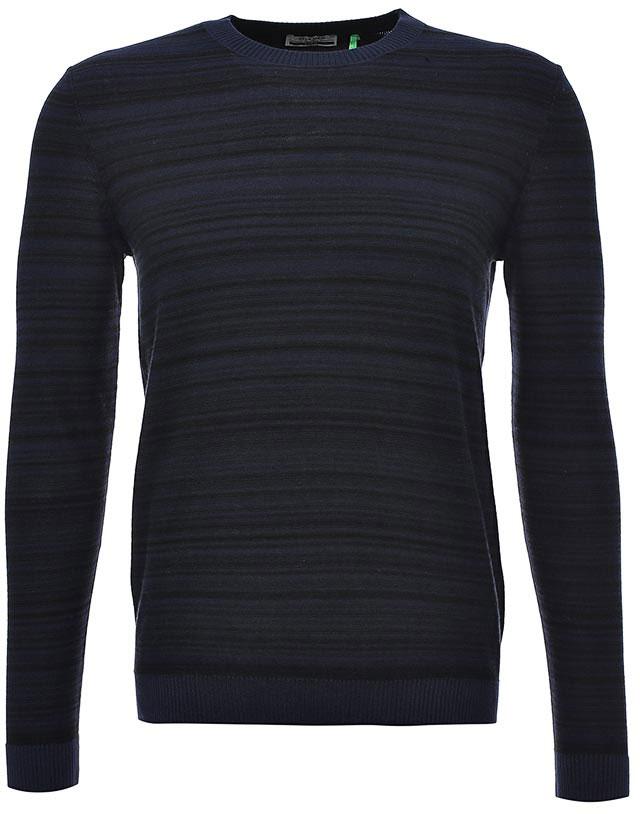 Джемпер мужской Sela, цвет: темно-синий. JR-214/038-7350. Размер M (48)JR-214/038-7350Уютный мужской джемпер Sela поможет создать стильный образ и станет отличным дополнением гардероба. Модель прямого кроя с длинными рукавами изготовлена из натурального хлопка мелкой вязки в тонкую полоску. Круглый вырез горловины, манжеты рукавов и низ изделия связаны резинкой. Модель подойдет для офиса, прогулок и дружеских встреч и будет отлично сочетаться с джинсами и брюками. Мягкая смесовая ткань хорошо тянется и приятна на ощупь.
