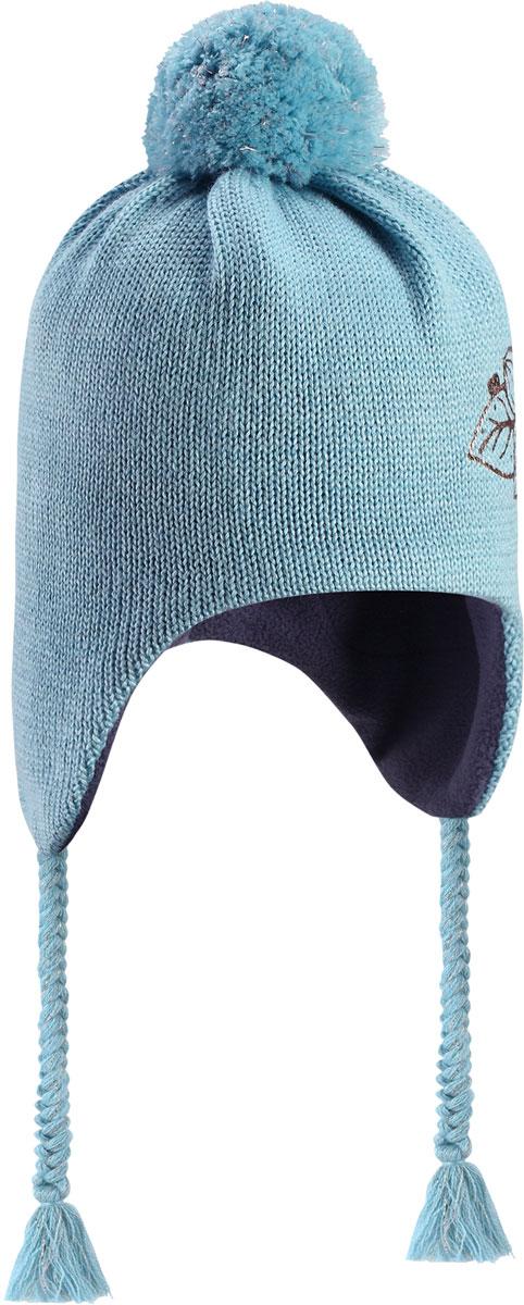 Шапка детская Lassie, цвет: синий. 7287168770. Размер 48/507287168770Очаровательная шапка Lassie, изготовленная из нежной полушерстяной пряжи, незаменима в холодные зимние дни! Красивая и гладкая флисовая подкладка очень приятна на ощупь и обеспечивает дополнительное утепление. Ветронепроницаемые вставки защищают ушки от холодного ветра, а спереди на шапке размещена светоотражающая эмблема Lassie. Симпатичный помпон и украшение в виде цветка дополняют образ! Уважаемые клиенты!Размер, доступный для заказа, является обхватом головы.
