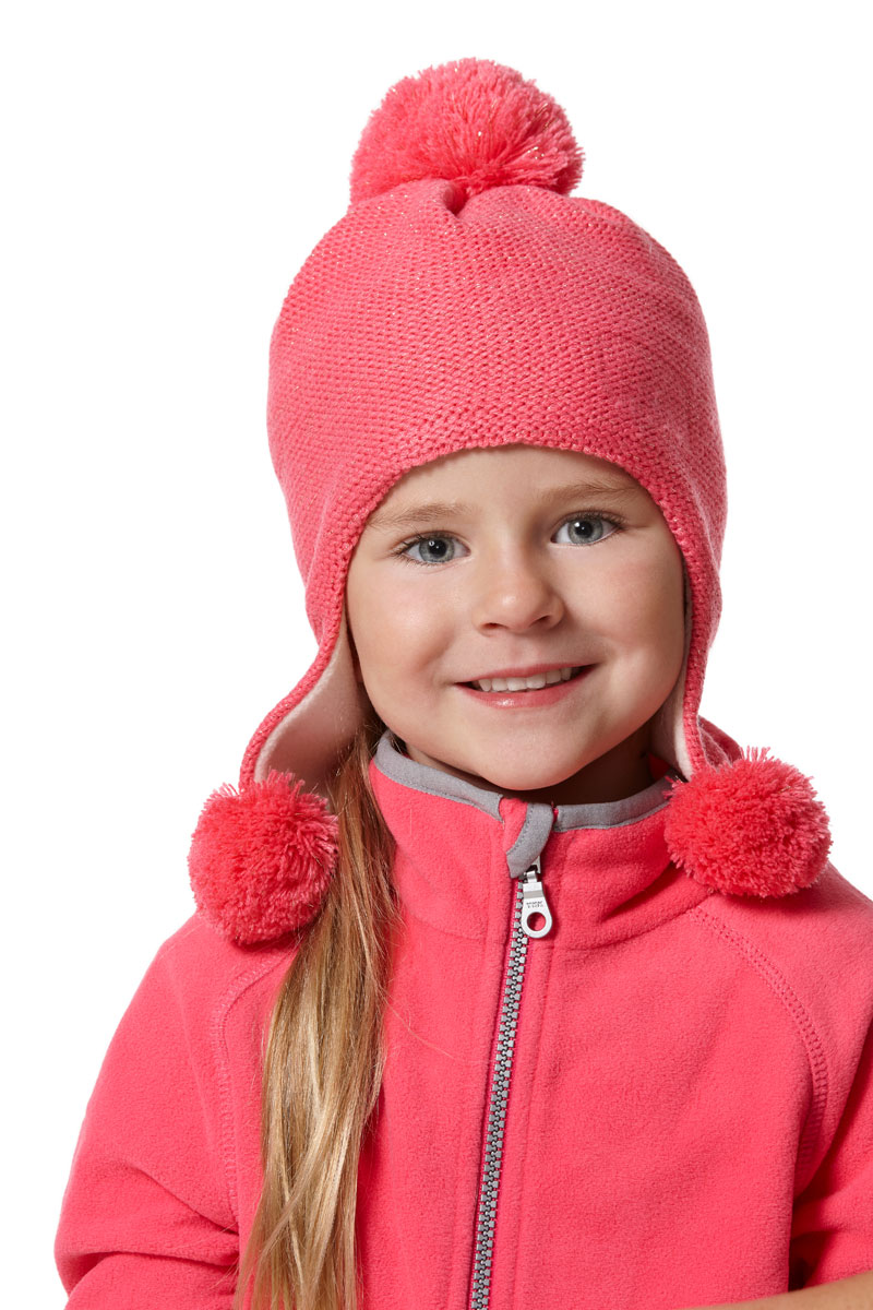 Шапка для девочек Lassie, цвет: розовый. 7287173320. Размер 54/567287173320100% Полиакрил