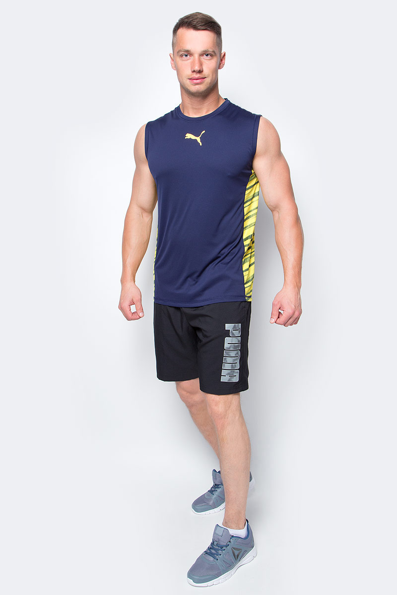 Майка мужская Puma Vent Sleeveless, цвет: темно-синий, желтый. 51516305. Размер S (44/46)51516305Майка Puma Vent Sleeveless выполнена из легкого, практически невесомого материала обеспечит комфорт во время тренировки. Эргономичный вырез не натирает кожу и гарантирует комфорт во время тренировки.Свободный спортивный крой.