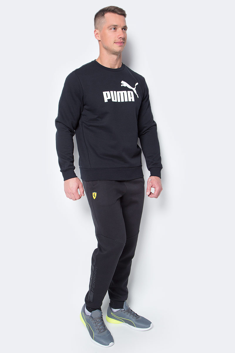 Брюки спортивные мужские Puma Sf Sweat Pants, цвет: черный. 76198702. Размер XL (52)761987_02Модные удобные брюки, которые воплощают скорость и динамичность команды Scuderia Ferrari. Модель декорирована эмблемой Ferrari из термополиуретана и логотипом Puma, нанесенным методом печати высокой плотности. Среди других отличительных особенностей модели следует отметить изображение итальянского флага, нанесенное методом печати высокой плотности и контрастные вставки на горловинах карманов.