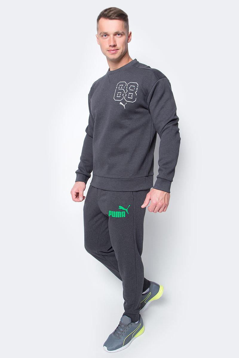 Брюки спортивные мужские Puma ESS No.1 Sweat PantsTR cl, цвет: антрацитовый. 838265_37. Размер XXL (52/54)838265_37Мужские спортивные брюки ESS No.1 Sweat Pants TR cl изготовлены из хлопка с добавлением полиэстера. Среди отличительных особенностей изделия - пояс с продернутыми затягивающимися шнурами, карманы в швах, нашитая сверху задняя кокетка для лучшей посадки по фигуре, а также отделка манжет по низу штанин трикотажем в резинку. Брюки декорированы прорезиненным логотипом PUMA.