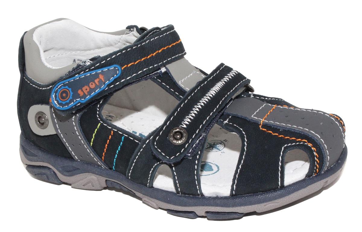 Сандалии для мальчика Капитошка, цвет: темно-синий, серый. A7145. Размер 30A7145Стильные и удобные сандалии для мальчика от бренда Капитошка изготовлены из натуральной кожи. Модель с закрытой пяткой застегивается на два ремешка с застежками-липучками и оформлена декоративной прострочкой. Стелька, изготовленная из натуральной кожи, гарантирует дополнительный комфорт и предотвращает натирание. Подошва из термопластичной резины оснащена рифлением для лучшего сцепления с поверхностью. Модные сандалии займут достойное место в летнем гардеробе вашего ребенка.