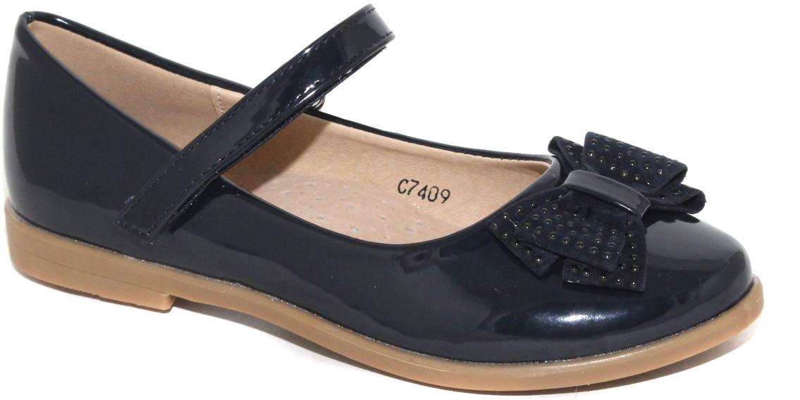 Туфли для девочки Капитошка, цвет: темно-синий. C7409. Размер 31C7409Стильные туфли для девочки от бренда Капитошка изготовлены из искусственной кожи. Модель лаконичного дизайна оформлена бантом на мысе. Туфли имеют ремешок с застежкой-липучкой, который надежно фиксирует обувь на ноге. Стелька, изготовленная из натуральной кожи, гарантирует дополнительный комфорт и предотвращает натирание. Подошва из термопластичной резины оснащена рифлением для лучшего сцепления с поверхностью. Модные туфли займут достойное место в гардеробе вашей девочки.