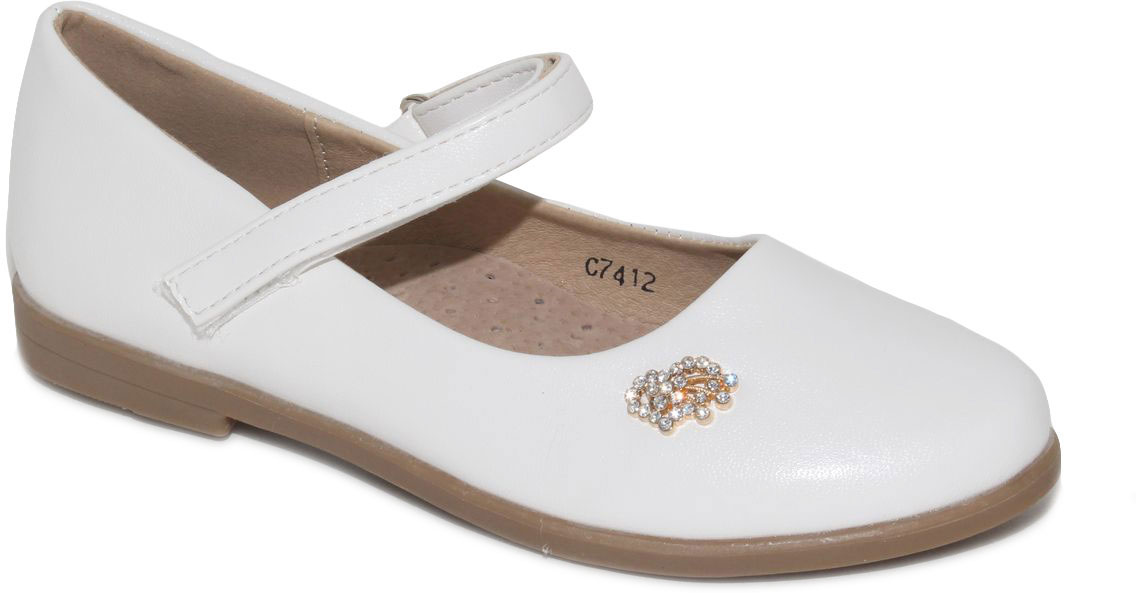 Туфли для девочки Капитошка, цвет: белый. C7412. Размер 30C7412Стильные туфли для девочки от бренда Капитошка изготовлены из искусственной кожи. Модель с круглым мыском застегивается при помощи ремешка на липучке и оформлена декоративной фурнитурой со стразами. Стелька, изготовленная из натуральной кожи, гарантирует дополнительный комфорт и предотвращает натирание. Подошва из термопластичной резины оснащена рифлением для лучшего сцепления с поверхностью. Модные туфли займут достойное место в гардеробе вашей девочки.