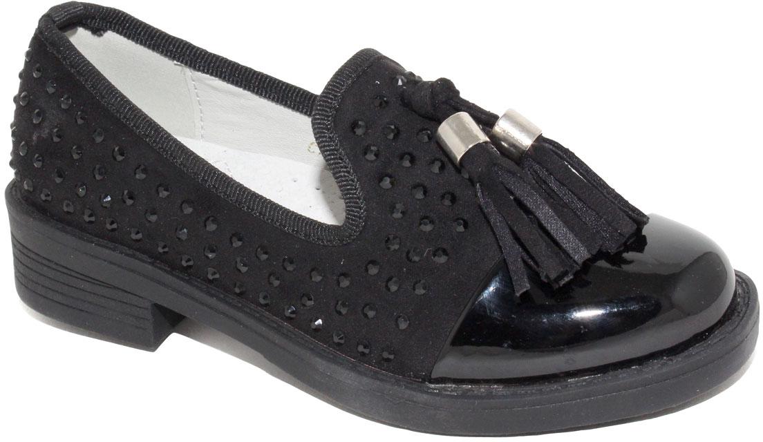 Туфли для девочки Капитошка, цвет: черный. C7463. Размер 33C7463Стильные туфли для девочки от бренда Капитошка изготовлены из искусственной кожи. Мысок выполнен из искусственной лаковой кожи. Туфли оформлены стразами из пластика в тон кожи и дополнены декоративными кисточками. Стелька, изготовленная из натуральной кожи, гарантирует дополнительный комфорт и предотвращает натирание. Подошва из термопластичной резины оснащена рифлением для лучшего сцепления с поверхностью. Модные туфли займут достойное место в гардеробе вашей девочки.