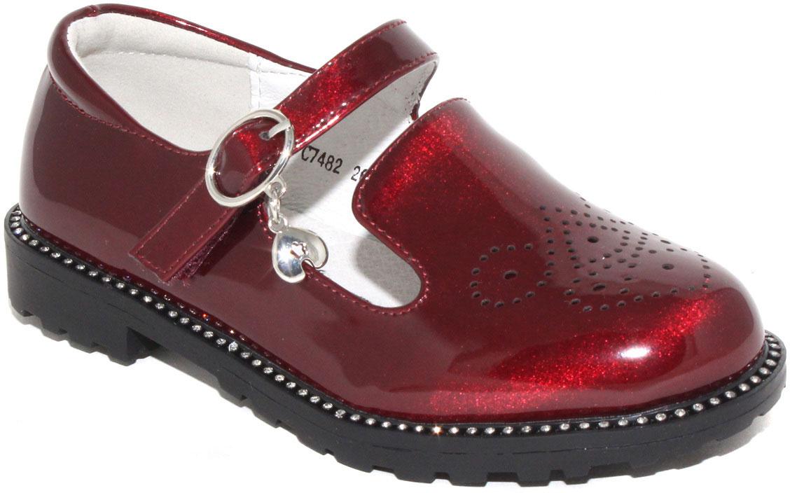 Туфли для девочки Капитошка, цвет: красный. C7482. Размер 31C7482Стильные туфли для девочки от бренда Капитошка изготовлены из искусственной лаковой кожи с блестящим эффектом. Модель оформлена декоративной перфорацией и стразами по ранту. Туфли имеют ремешок с пряжкой, который надежно фиксирует обувь на ноге. Стелька, изготовленная из натуральной кожи, гарантирует дополнительный комфорт и предотвращает натирание. Подошва из термопластичной резины оснащена рифлением для лучшего сцепления с поверхностью. Модные туфли займут достойное место в гардеробе вашей девочки.