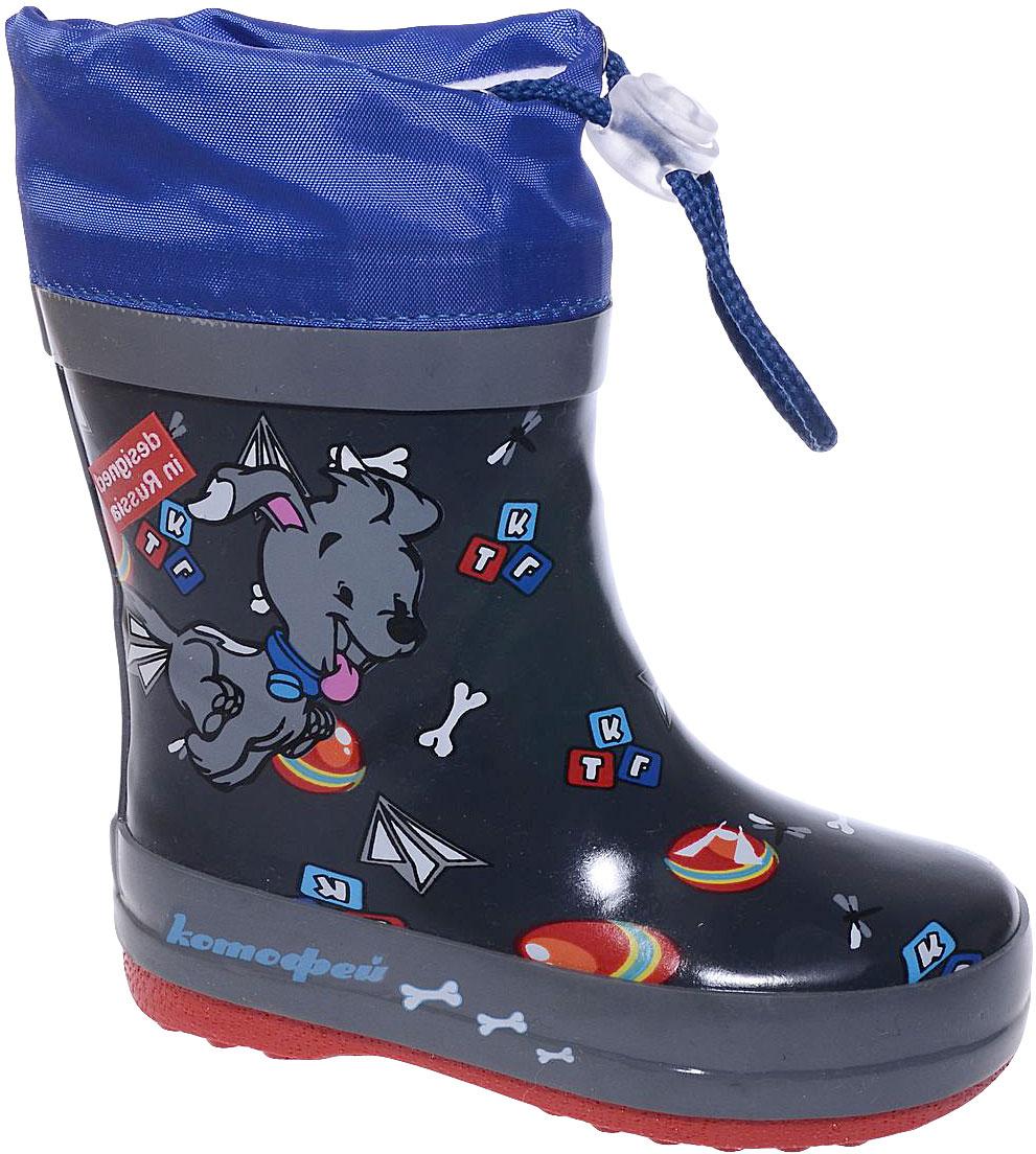 Сапоги резиновые для мальчика Котофей, цвет: темно-синий. 166079-11. Размер 22166079-11Резиновые сапоги для мальчика от Котофей - идеальная обувь в дождливую погоду. Сапоги выполнены из качественной резины. Подкладка и стелька выполнены из текстильных материалов, которые обеспечивают полный комфорт при носке. Также сапоги дополнены текстильным верхом, объем которого регулируется с помощью шнурка со стоппером. Утолщенная подошва выполнена из ТЭП-материала с высокой устойчивостью к истиранию.
