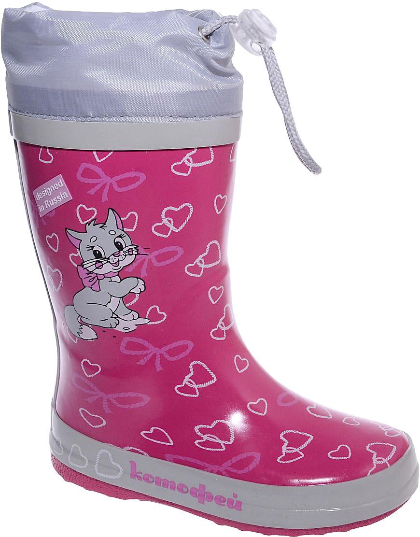 Сапоги резиновые для девочки Котофей, цвет: фуксия, серый. 366156-11. Размер 27366156-11Резиновые сапоги для девочки от Котофей - идеальная обувь в дождливую погоду. Сапоги выполнены из качественной резины. Подкладка и стелька выполнены из текстильных материалов, которые обеспечивают полный комфорт при носке. Также сапоги дополнены текстильным верхом, объем которого регулируется с помощью шнурка со стоппером. Утолщенная подошва выполнена из ТЭП-материала с высокой устойчивостью к истиранию.