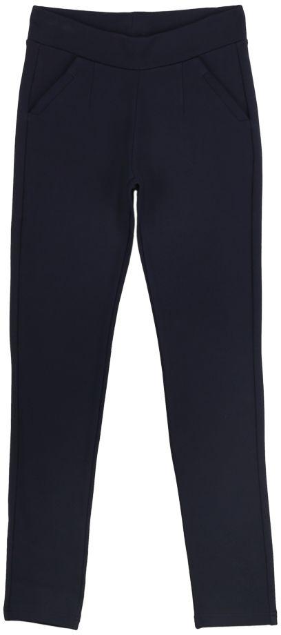 Брюки для девочки Vitacci, цвет: синий. 2171223F-04. Размер 1342171223F-04Классические утепленные брюки стрейч Vitacci выполнены из вискозы и нейлона с добавлением эластана. Пояс снабжен широкой эластичной резинкой, которая обеспечивает комфортную посадку. Спереди расположены два втачных кармана.