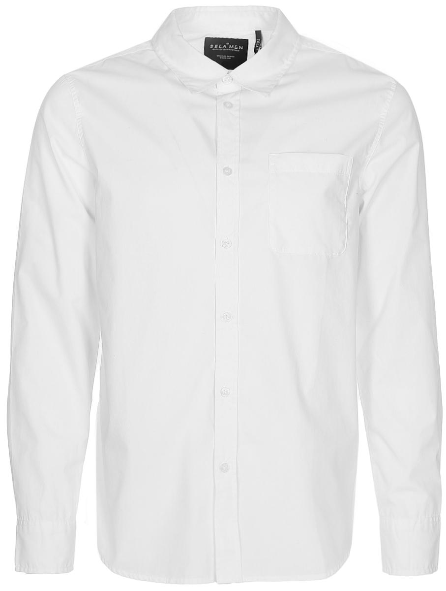 Рубашка мужская Sela, цвет: белый. H-412/040-7310. Размер 41 (48)H-412/040-7310Классическая мужская рубашка Sela поможет создать стильный образ и станет отличным дополнением к повседневному гардеробу. Модель прямого кроя с отложным воротничком застегивается на пуговицы и дополнена накладным карманом. Манжеты длинных рукавов также дополнены пуговицей. Рубашка подойдет для офиса, прогулок или дружеских встреч и будет отлично сочетаться с джинсами и брюками. Мягкая ткань на основе хлопка и полиэстера приятна на ощупь и комфортна в носке.