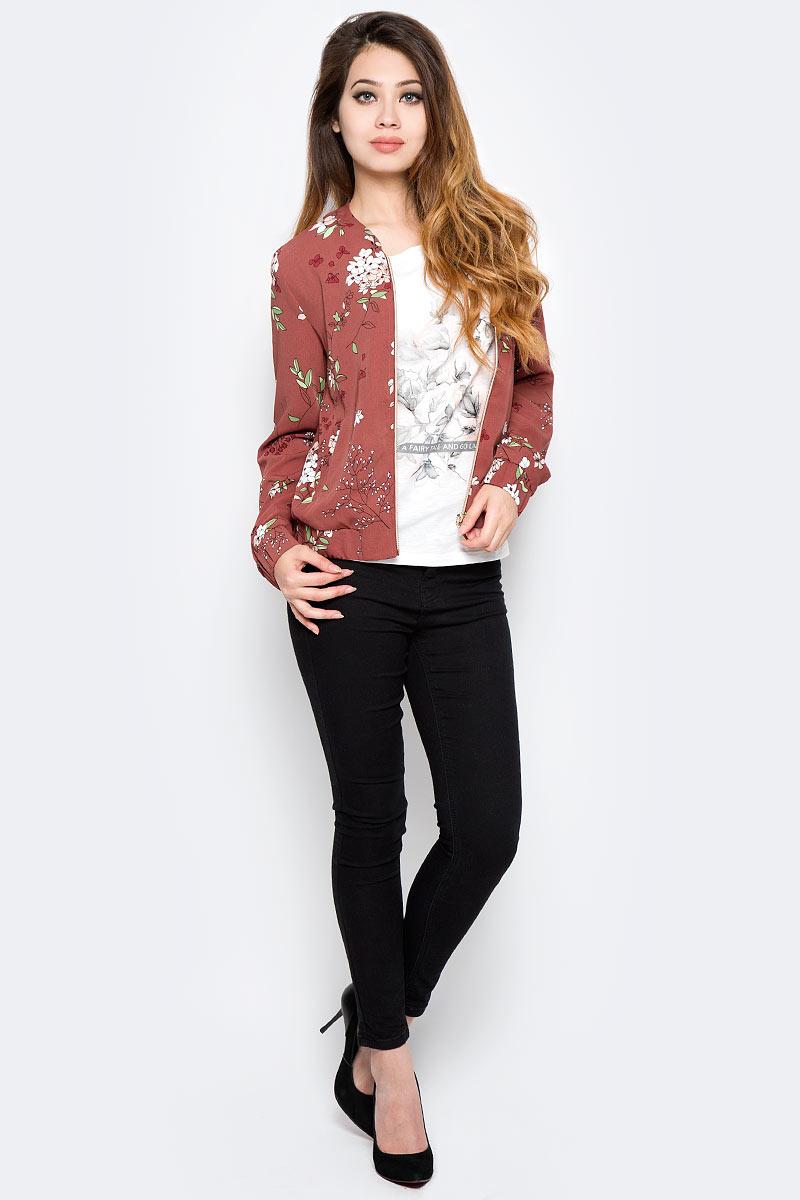 Жакет женский Sela, цвет: розово-коричневый. JTw-116/1009-7310. Размер 46JTw-116/1009-7310Оригинальный женский жакет-бомбер Sela поможет создать стильный повседневный образ. Модель прямого кроя с длинными рукавами выполнена из качественного материала и оформлена цветочным принтом. Спереди изделие застегивается на молнию и дополнено двумя прорезными карманами. Манжеты рукавов и низ жакета дополнены резинкой. Жакет подойдет для прогулок и дружеских встреч и будет отлично сочетаться с джинсами и брюками, а также гармонично смотреться с юбками. Мягкая ткань на основе приятна на ощупь и комфортна в носке.