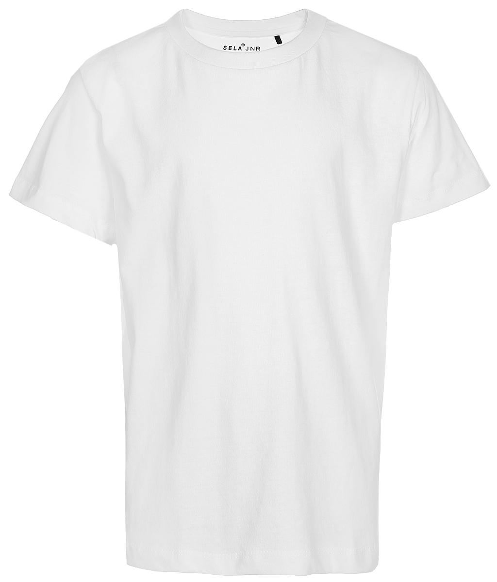 Футболка для мальчика Sela, цвет: белый. Ts-811/1090-7340. Размер 134Ts-811/1090-7340Классическая футболка для мальчика Sela станет отличным дополнением к повседневному гардеробу. Модель прямого кроя с короткими рукавами изготовлена из натурального хлопка. Круглый вырез горловины дополнен мягкой трикотажной резинкой. Модель подойдет для занятий спортом, прогулок и дружеских встреч, а универсальный цвет позволит сочетать ее с любой одеждой.