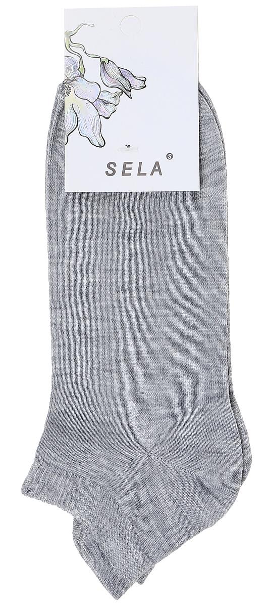 Носки женские Sela, цвет: серый меланж. SOb-154/058-7371. Размер 19/21SOb-154/058-7371Укороченные женские носки Sela изготовлены из высококачественного приятного на ощупь материала. Благодаря содержанию мягкого хлопка в составе, кожа сможет дышать, а эластан позволяет носкам легко тянуться, что делает их комфортными в носке. Мягкая эластичная резинка плотно облегает ногу, не сдавливая ее, и обеспечивает комфорт и удобство. Уважаемые клиенты! Размер, доступный для заказа, является длиной стопы.
