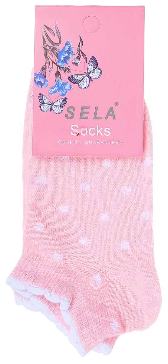Носки для девочки Sela, цвет: розовый. SOb-4/187-7311. Размер 14/16SOb-4/187-7311Укороченные носки для девочки Sela изготовлены из высококачественного приятного на ощупь материала в горошек. Благодаря содержанию мягкого хлопка в составе, кожа сможет дышать, а эластан позволяет носкам легко тянуться, что делает их комфортными в носке. Фигурная эластичная резинка с контрастной полоской по краю плотно облегает ногу, не сдавливая ее, и обеспечивает комфорт и удобство. Уважаемые клиенты! Размер, доступный для заказа, является длиной стопы.