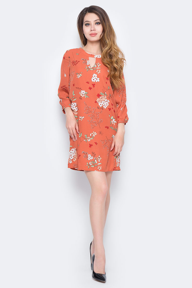 Платье Sela, цвет: розово-коричневый. D-117/1168-7310. Размер 48D-117/1168-7310Лаконичное женское платье Sela выполнено из легкого струящегося материала и оформлено цветочным принтом. Модель прямого кроя с рукавами длиной 3/4 застегивается на скрытую застежку-молнию на спинке. Широкий круглый вырез горловины оформлен вырезом-капелькой. Манжеты рукавов застегиваются на пуговицу. Изделие подойдет для офиса, прогулок и дружеских встреч и станет отличным дополнением гардероба. Мягкая ткань приятна на ощупь и комофртна в носке.