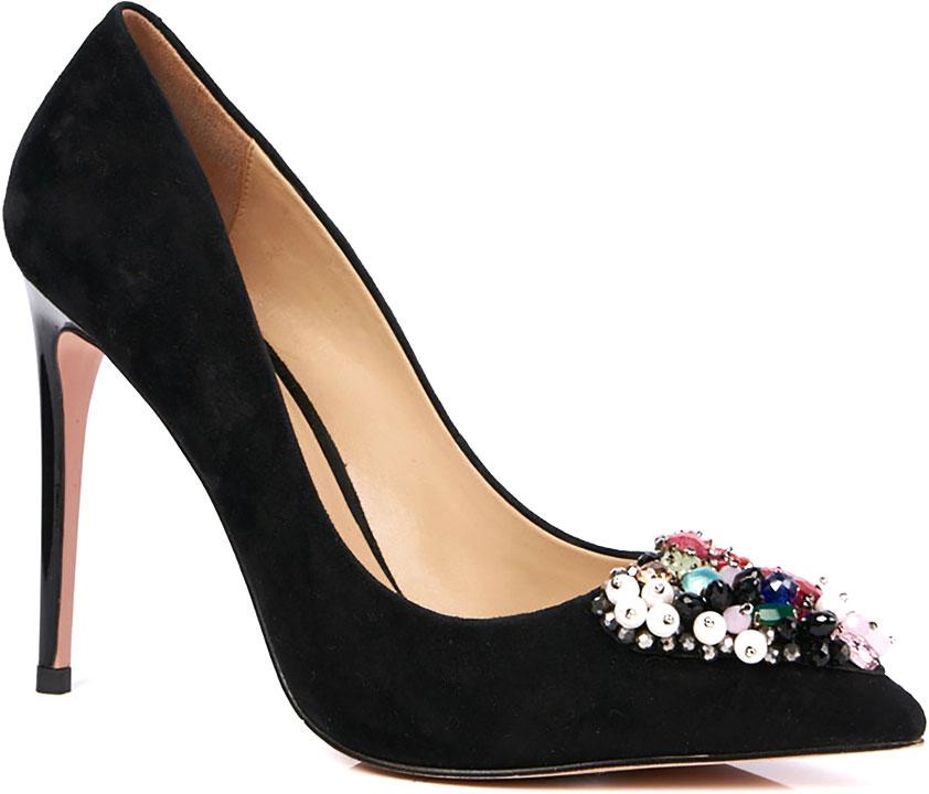 Туфли женские Vitacci, цвет: черный. 49397. Размер 3949397Стильные туфли-лодочки от Vitacci выполнены из натуральной замши. Внутренний материал и стелька изготовлены из натуральной кожи, подошва - из прочного термопластичного материала. Модель имеет заостренный мысок и каблук-шпильку. Туфли дополнены ярким декоративным элементом из разноцветных бусин.
