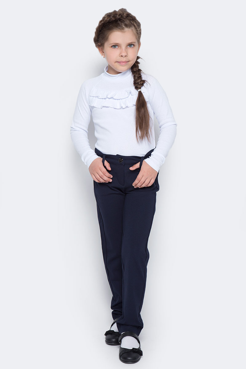 Брюки для девочки Vitacci, цвет: темно-синий. 2173079-04. Размер 1462173079-04Брюки классические школьные для девочки выполнены из качественного материала. Модель застегивается на комбинированную застежку, имеются шлевки для ремня.
