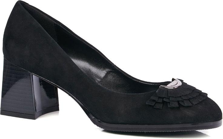 Туфли женские Vitacci, цвет: черный. 94522. Размер 3794522Элегантные женские туфли от Vitacci выполнены из натуральной замши. Внутренняя поверхность и стелька изготовлены из натуральной кожи, а подошва - из прочного термополиуретана. Модель имеет закругленный мысок и невысокий наборный каблук трапециевидной формы с лакированной поверхностью.