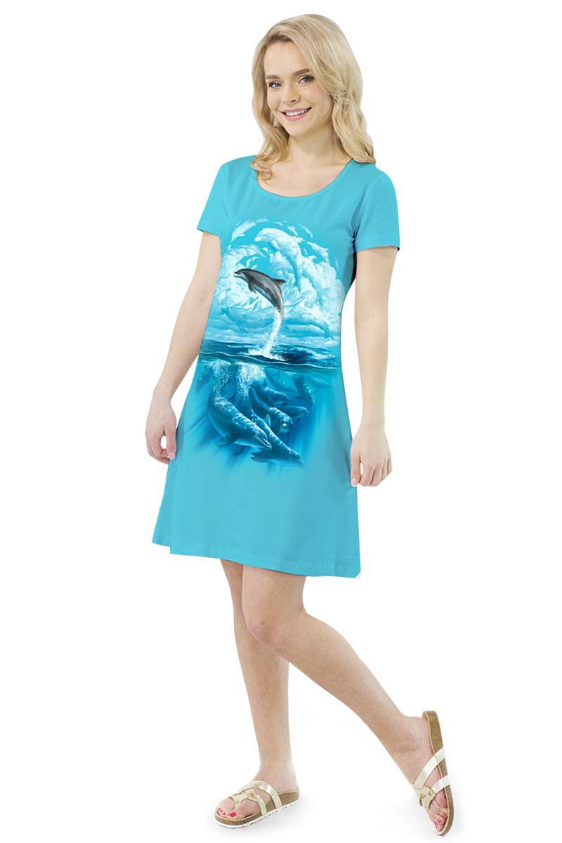 Платье MF Дельфины облака, цвет: бирюзовый. ПЛ-41(21). Размер XXL (52)ПЛ-41(21)Стильное платье от MF выполнено из эластичного хлопка. Модель трапециевидного кроя с короткими рукавами и круглым вырезом горловины оформлена принтом.